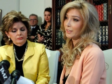 Jenna Talackova, right, appears with her attorney Gloria Allred at a news conference in Los Angeles Tuesday, April 3, 2012. (AP Photo/Reed Saxon)