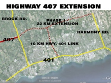 A map of the Highway 407 extension.