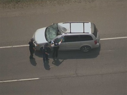 One person was critically injured in an incident on Highway 400 in Barrie on Monday, May 28, 2012. (CTV)