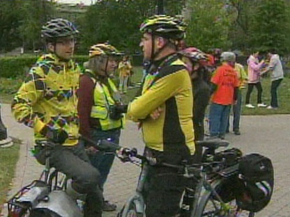 Participants in the Cycle and Sole rally are shown outside Queen's Park Saturday afternoon. (CP24)