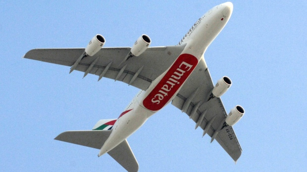 This July 29, 2008 file photo shows an Emirates Airlines Airbus A380 in a photo taken at the Dubai International Airport in Dubai, United Arab Emirates.