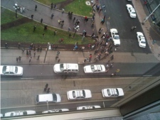 An aerial view of the scene outside the Eaton Centre on June 2, 2012. (Jessica Gorlicky/MyBreakingNews)