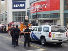 Police investigate after a shooting at the Eaton Centre. (CTV)