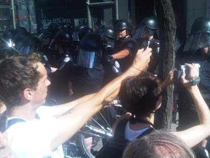 Tensions escalated between protesters and police during a large protest on Yonge Street on June 25, 2010.