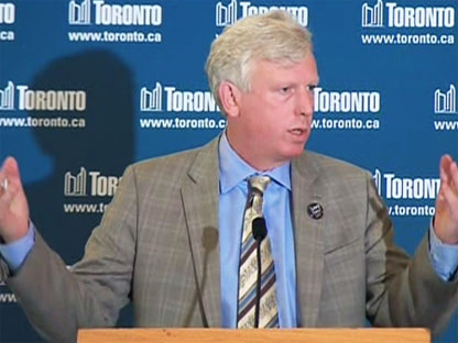 Toronto Mayor David Miller discusses the G20 rioting at a press conference in Toronto, Monday, June 28, 2010.