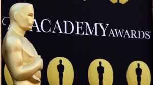 An Oscar statue stands on the red carpet outside the 82nd Academy Awards in Los Angeles on March 5, 2010. (AP Photo/Amy Sancetta, file)