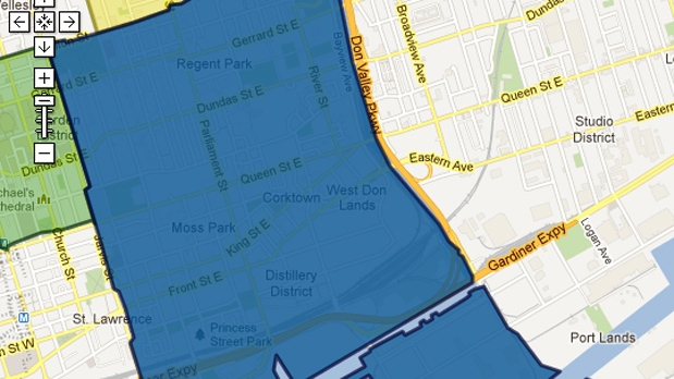 This screen grab of a Google map on Toronto Hydro's website shows the general area of a power outage Thursday, July 5, 2012.