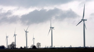 Wind turbines are shown at a wind farm near Port Alma, Ont., near the shores of Lake Erie. (The Canadian Press/ Dave Chidley)