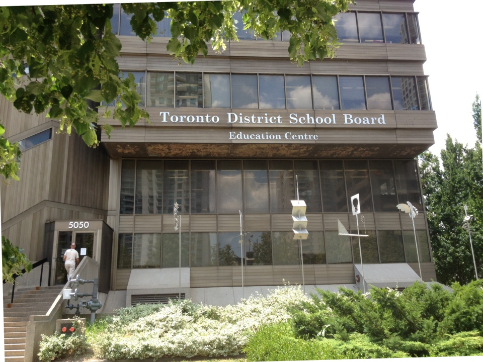 A sign is pictured outside a Toronto District School Board building. (Corey Baird/CTV Toronto)
