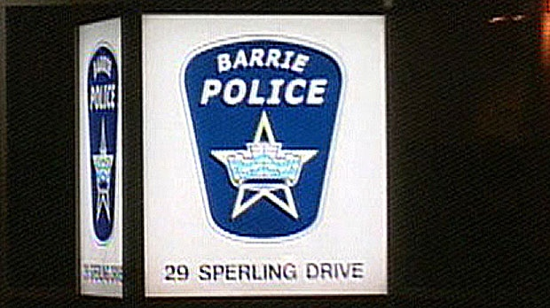The sign outside Barrie police headquarters is seen. (file photo)