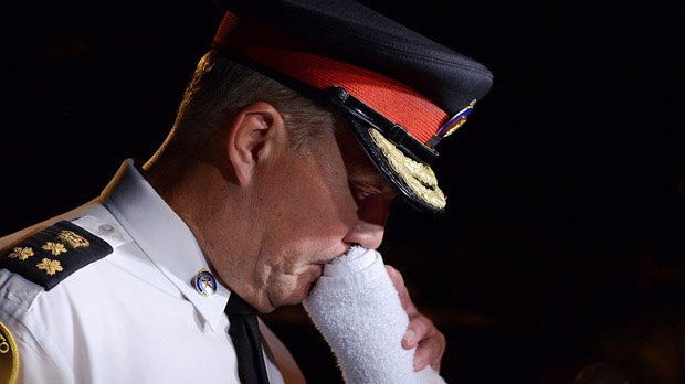 In this file photo, Toronto police Chief Bill Blair is seen speaking to the media in Toronto in the early morning hours of Tuesday, July 17, 2012, following a mass shooting on Danzig Street. (The Canadian Press/Aaron Vincent Elkaim)