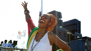 Donesha Prendergast, the grand daughter of Reggae legend Bob Marley, takes part in the Toronto Caribbean Carnival in Toronto on Saturday July 30, 2011. THE CANADIAN PRESS/Chris Young
