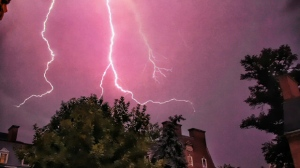 Lightning bolts streak across the sky during a thunderstorm in Toronto early Thursday, July 26, 2012. (Photo courtesy of Asad Munir)