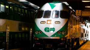 A GO Transit train arrives at Union Station in Toronto in this file photo. (The Canadian Press/Adrian Wyld)