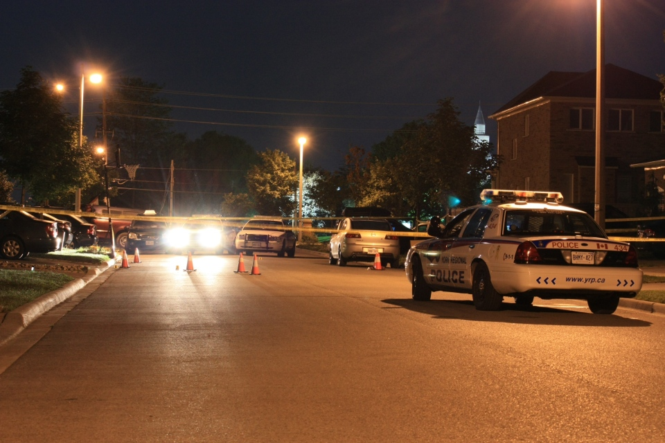 One man was killed and a second was wounded in a double stabbing on Colombo Crescent in Vaughan late Wednesday, Aug. 1, 2012. (CP24/Tom Stefanac)