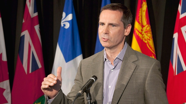 Ontario Premier Dalton McGuinty fields questions at the annual Council of the Federation meeting in Halifax on Thursday, July 26, 2012. (The Canadian Press/Andrew Vaughan)