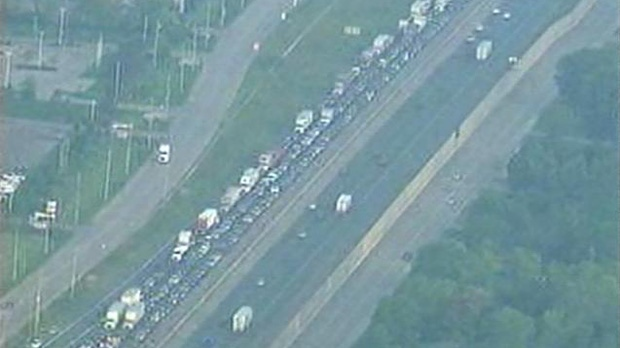 This screen grab shows traffic backed up on the Fort Erie-bound QEW following a crash in Stoney Creek on Friday, Aug. 3, 2012.