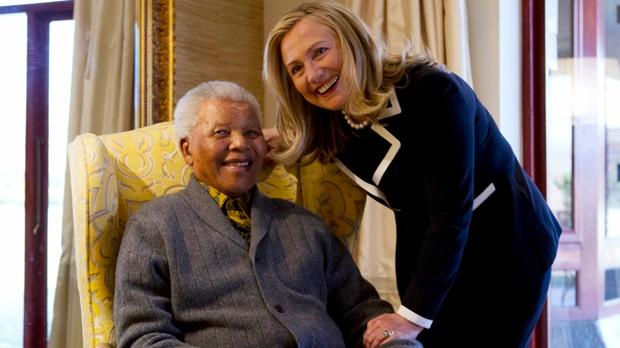 Nelson Mandela and Hillary Clinton