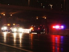 A vehicle is pulled over by police for going the wrong way on Highway 401. (CP24/Tom Stefanac)