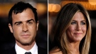 This combo made from Feb. 16, 2012 file photos shows Justin Theroux, left, and Jennifer Aniston.  (AP / Matt Sayles)
