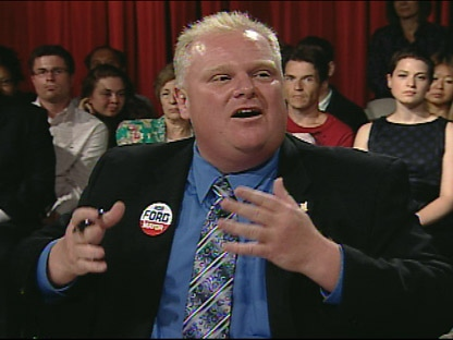 Rob Ford speaks at CP24's monthly debate.