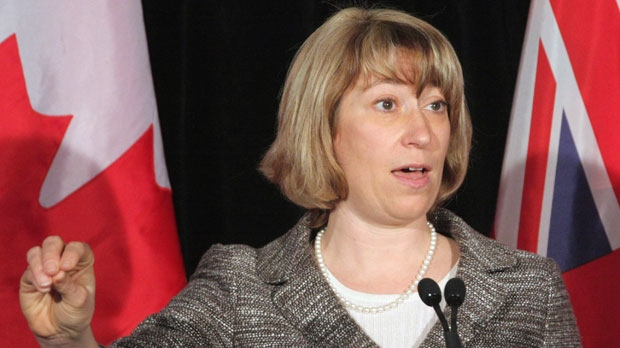 Ontario Education Minister Laurel Broten addresses a news conference in Toronto on Monday, April 9, 2012. (The Canadian Press/Colin Perkel)