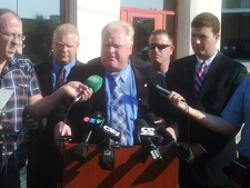 Councillor and mayoral candidate Rob Ford speaks at a news conference Thursday morning. (CP24/Mathew Reid)