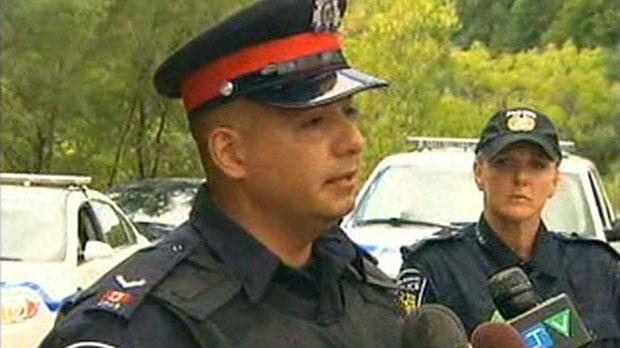 Peel Regional Police spokesman Const. George Tudos speaks to reporters Friday, Aug. 17, 2012.