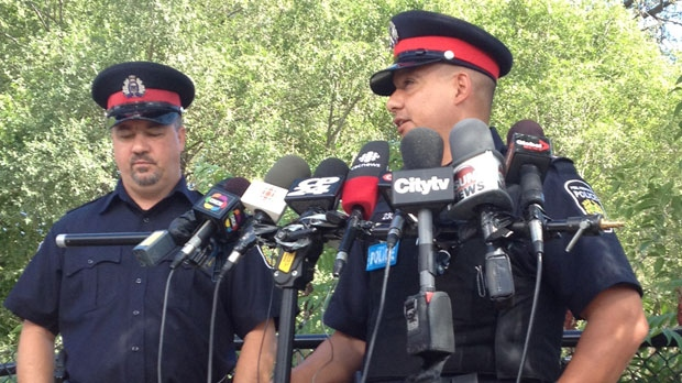 Police update the media on their investigation after body parts were discovered in in the Credit River in Mississauga on Friday, Aug. 17, 2012. (Christina Tenaglia)