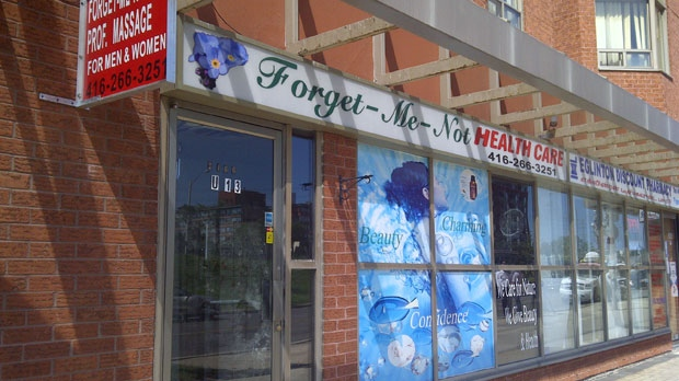 The Forget-Me-Not Health Care spa on Eglinton Avenue owned by Guang Hua Liu, the victim in the ongoing body-parts case being investigated by Peel and Toronto police.