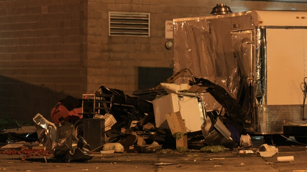An explosion destroyed a portable concession stand on the CNE grounds early Friday, Aug. 24, 2012. (CP24/Tom Stefanac)