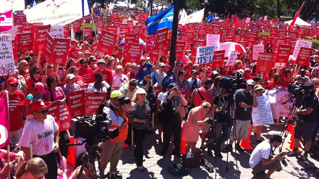 Teachers assemble for a protest outside Queen's Park Tuesday afternoon. (CP24/ Mathew Reid)