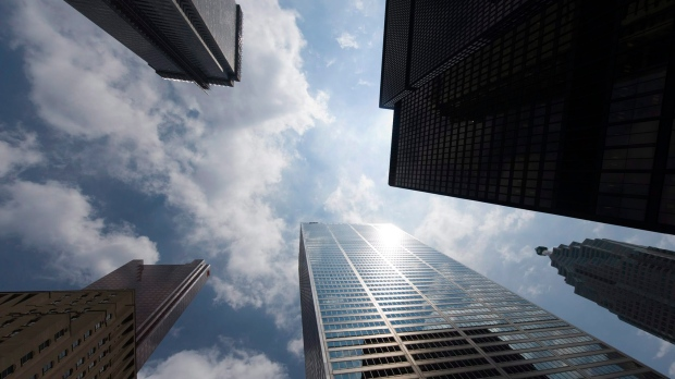 Bank skyscrapers are seen from Bay Street in Toronto's financial district. (Adrien Veczan / THE CANA