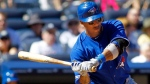 Toronto Blue Jays player Yunel Escobar hits a two-run home run in the sixth inning against the New York Yankees in a game Wednesday, Aug. 29, 2012, at Yankee Stadium in New York. (AP Photo/Rich Schultz)