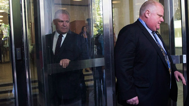 Toronto Mayor Rob Ford walks out of his court appearance in Toronto ahead of his brother councillor Doug Ford, Wednesday, Sept. 5, 2012.(The Canadian Press/Michelle Siu)