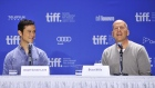 "Joseph Gordon-Levitt, left, and Bruce Willis speak about their new movie ""Looper"" at a press conference during the 2012 Toronto International Film Festival in Toronto on Thursday, Sept. 6, 2012. THE CANADIAN PRESS/Aaron Vincent Elkaim"