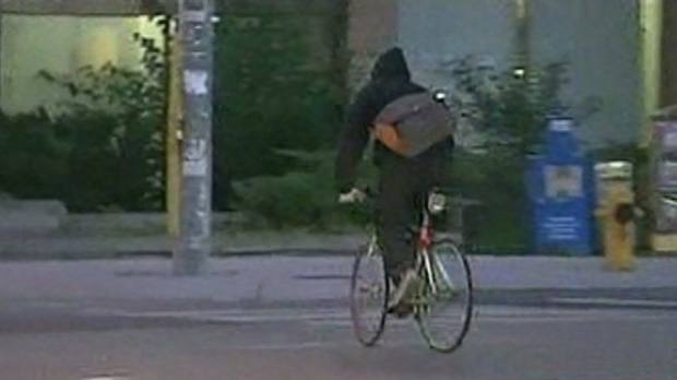 A cyclist crosses the road at Danforth and Broadview avenues Monday, Sept. 10, 2012.