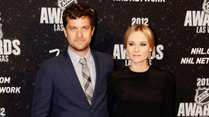 Actors Joshua Jackson, left, and Diane Kruger pose for a photo before the NHL Awards on Wednesday, June 20, 2012, in Las Vegas. (AP Photo/Julie Jacobson)