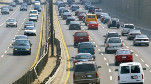Vehicles are pictured on the Gardiner Expressway in Toronto in this file photo. (The Canadian Press/Kevin Frayer)