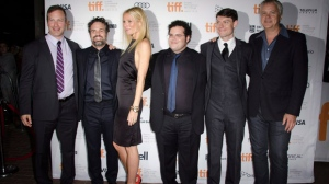 "Filmmaker Stuart Blumberg, actor Mark Ruffalo, actress Gwyneth Paltrow, actor Josh Gad, actor Patrick Fugit and actor Tim Robbins attend the ""Thanks For Sharing"" premiere during the Toronto International Film Festival on Saturday, Sept. 8, 2012, in Toronto. (Photo by Arthur Mola/Invision/AP)"
