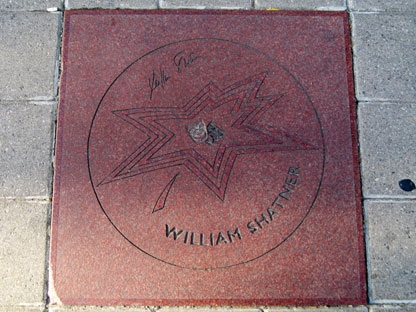 William Shatner's red granite plaque on the Canadian Walk of Fame is shown on Wednesday Sept. 15, 2010. Captain Kirk wants someone to beam him an answer about why his star on Canada's Walk of Fame is damaged. (THE CANADIAN PRESS/Pat Hewitt)