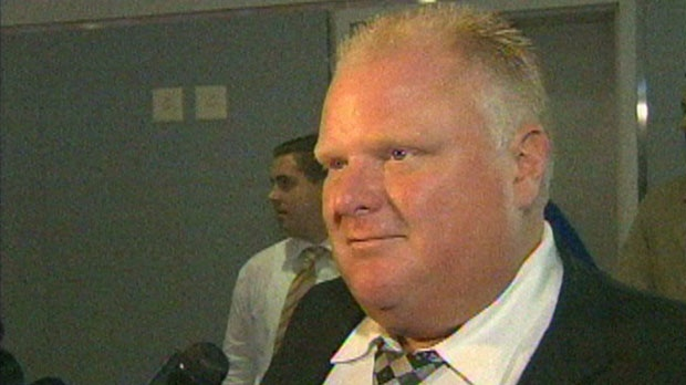 Toronto Mayor Rob Ford speaks to reporters at Billy Bishop Airport on September 18, 2012.
