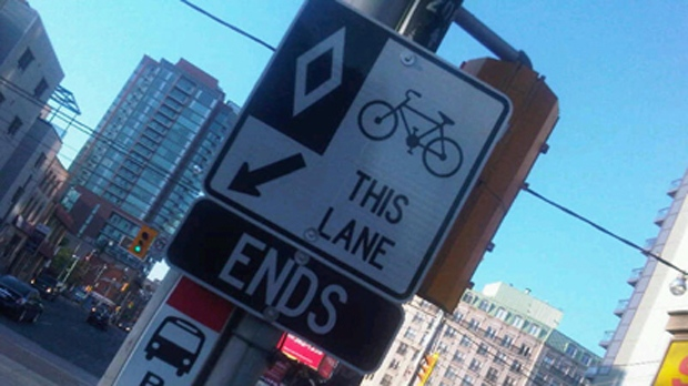 A sign warns cyclists about the end of a bike lane on Jarvis Street in this Wednesday, July 13, 2011, photo. (CP24/Cam Woolley)