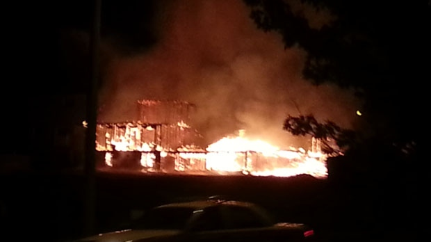 A fire destroyed homes under construction in Oshawa early Wednesday, Sept. 19, 2012. (MyBreakingNews/Rob Tasker)