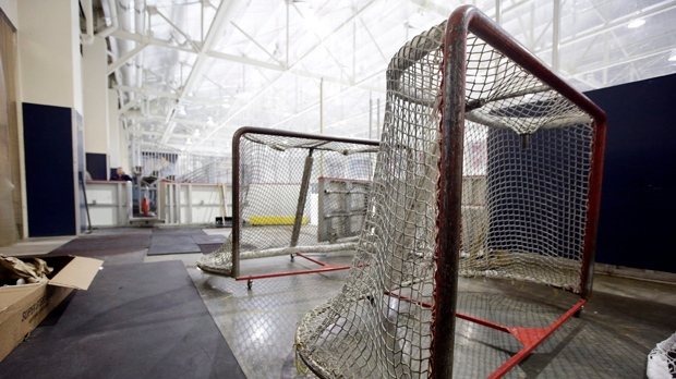 Nets sit next to a Nashville Predators practice rink on Monday, Sept. 17, 2012, in Nashville, Tenn. (AP Photo/Mark Humphrey)