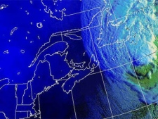 Hurricane Igor moves west towards the Newfoundland coast as seen in this enhanced Environment Canada satellite image, taken at 7 a.m. ET, Tuesday, Sept. 21, 2010.