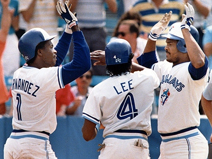 Toronto Blue Jays' Tony Fernandez (left) and Manny Lee (centre) congratulate teammate George Bell after he hit a three-run home run against the Minnesota Twins in Toronto on Aug. 1, 1988. The Toronto Blue Jays once ruled in Latin  America, using their people and resources to regularly sign or trade for the best and brightest the talent-rich region had to offer.Players like Alfredo Griffin, Tony Fernandez, George Bell, Damaso Garcia and Manny Lee were key pieces in the foundation of the franchise's glory years, with Roberto Alomar, Juan Guzman, Carlos Delgado and Alex Rios, among others, picking up from them down the road.(The Canadian Press/Hans Deryk)