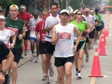 Several downtown streets are shut down Sunday for the annual Scotiabank Waterfront Marathon.