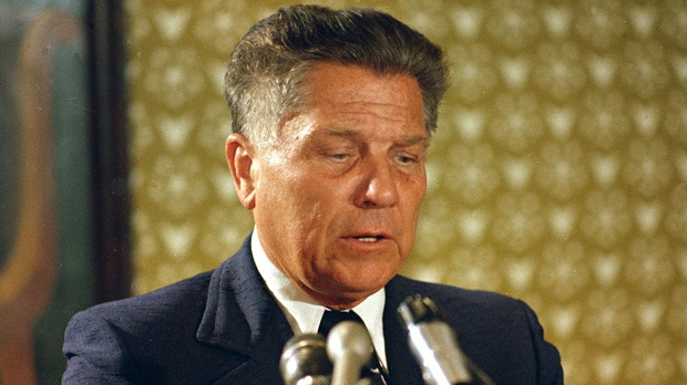 Jimmy Hoffa, the former Teamsters union president, speaks during a news conference in Washington in this June 3, 1974, photo. (AP Photo/File)