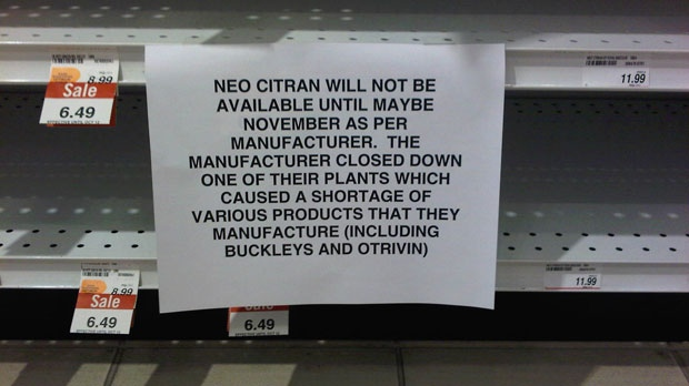 This sign, taken Oct. 10 at a downtown Toronto Shoppers Drug Mart, tells customers about the shortage of certain over-the-counter drugs because of a voluntary recall by Novartis in the U.S.